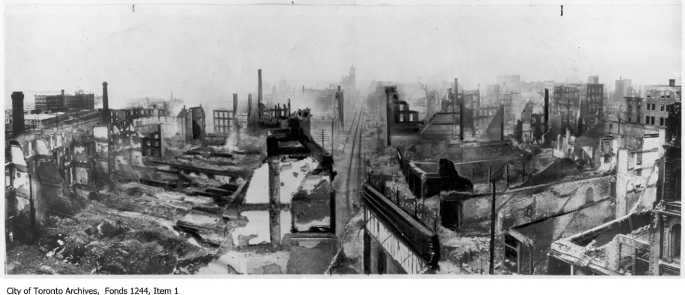 Toronto Fire ruins, Front Street looking west from Yonge Street. - 1904