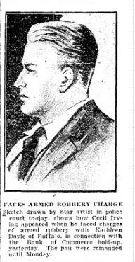 Court drawing of Cecil Irving April 25 1930