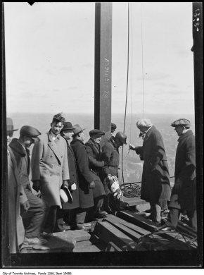 Bank of Commerce, group at flag-raising. - April 2, 1930