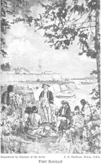 Trading at Fort Rouille by Frederick Challener in 1926
